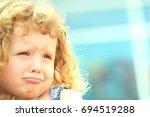 little curly hair girl ... | Shutterstock . vector #694519288
