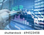 stock market graph analysis for ... | Shutterstock . vector #694523458