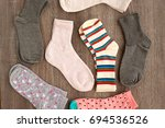 Many Socks. Socks On A Wooden...