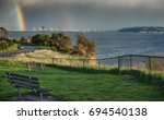 The Rare Double Rainbow shows itself over the Puget Sound in Seattle, WA