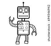 robot concept flat  line icon... | Shutterstock . vector #694546942