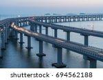 Dalian Cross Sea Bridge At Dusk.