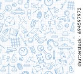seamless pattern with hand... | Shutterstock .eps vector #694597972