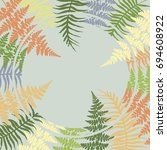 fern frame circle vector... | Shutterstock .eps vector #694608922