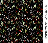 watercolor bud repeat pattern.... | Shutterstock . vector #694609642