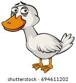 sad duck on white background...