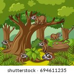 slothes live in forest... | Shutterstock .eps vector #694611235