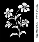 white flower on black... | Shutterstock . vector #694614886
