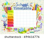 template school timetable for... | Shutterstock .eps vector #694616776