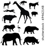 Stock vector vector illustration of various african animals 69462148