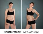 close up of fat and slim woman... | Shutterstock . vector #694624852