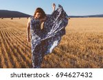 beautiful model wearing summer... | Shutterstock . vector #694627432