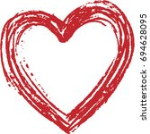 3d creative red heart valentine ... | Shutterstock .eps vector #694628095