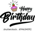 hand draw  lettering of happy... | Shutterstock .eps vector #694634092