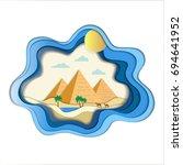 paper art carve of natural... | Shutterstock .eps vector #694641952
