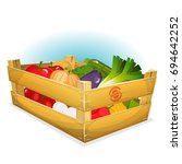 basket of healthy vegetables ...   Shutterstock .eps vector #694642252