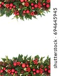christmas decorative border... | Shutterstock . vector #694645945