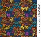 hand lettering doodle seamless... | Shutterstock .eps vector #694650166