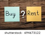 closeup of words buy and rent... | Shutterstock . vector #694673122