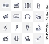 set of 16 melody outline icons... | Shutterstock .eps vector #694678462