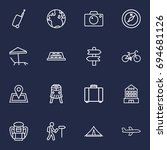 set of 16 travel outline icons... | Shutterstock .eps vector #694681126