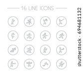 set of 16 fitness outline icons ... | Shutterstock .eps vector #694681132
