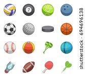 sport balls icons set. cartoon... | Shutterstock . vector #694696138