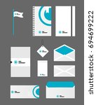 stationery set for office. set... | Shutterstock .eps vector #694699222