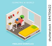 isometric home office workplace.... | Shutterstock .eps vector #694704622