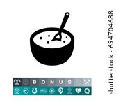 porridge bowl with spoon | Shutterstock .eps vector #694704688