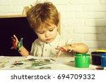 child fingerprint art. drawing... | Shutterstock . vector #694709332