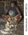 Small photo of Pentecost, Republic of Vanuatu, July 21st, 2014, Indigenous man participates in traditional Kava Ceremony. The consumption of the drink is a form of welcome, EDITORIAL