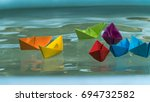 paperboats origami | Shutterstock . vector #694732582