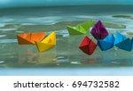 paperboats origami | Shutterstock . vector #694732582
