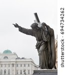 A sculpture of Christ bearing his Cross closeup. Holy Cross Church in Warsaw, Poland.