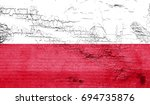 poland flag with grunge texture ...   Shutterstock . vector #694735876