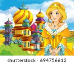 cartoon fairy tale scene with... | Shutterstock . vector #694756612