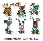 vector set of cocktail glasses... | Shutterstock .eps vector #694783162