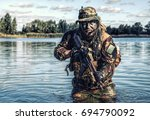 bearded soldier of special... | Shutterstock . vector #694790092