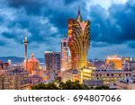 macau  china city skyline at... | Shutterstock . vector #694807066