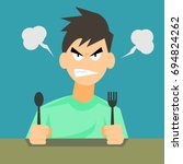 angry hungry man with spoon and ... | Shutterstock .eps vector #694824262