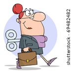businesswoman with wind up key... | Shutterstock . vector #69482482