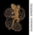 ornate golden lizard decorated... | Shutterstock .eps vector #694839352