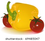 yellow pepper and tomato cherry | Shutterstock .eps vector #69485047