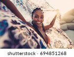 Beautiful Woman With Cloth In...