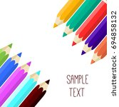 colored rainbow pencils set.... | Shutterstock .eps vector #694858132