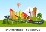 colorful abstract vector city.... | Shutterstock .eps vector #69485929