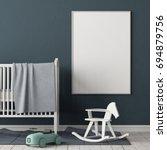 mock up poster in the children... | Shutterstock . vector #694879756