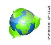 recycle arrows earth | Shutterstock .eps vector #69488125