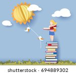 back to school 1 september card ... | Shutterstock .eps vector #694889302